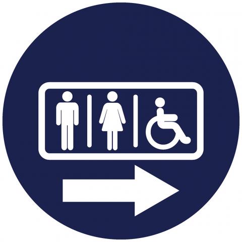 Men Women Handicap Pictogram with Right Arrow