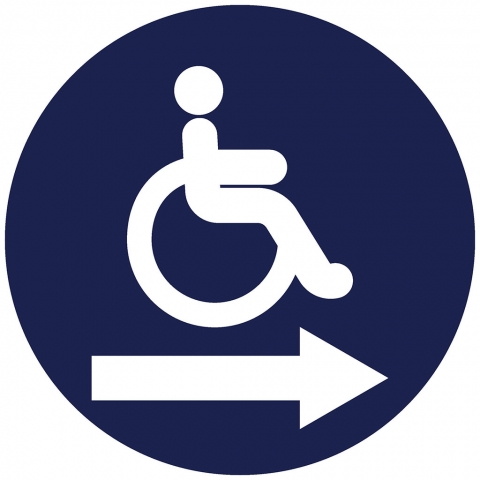 Handicap Pictogram with Right Arrow
