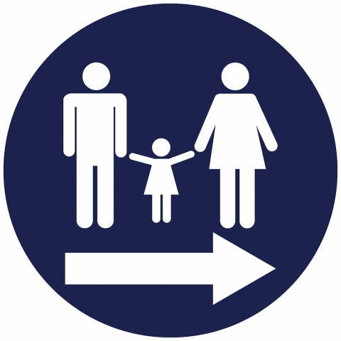 Family Restroom Pictogram with Right Arrow