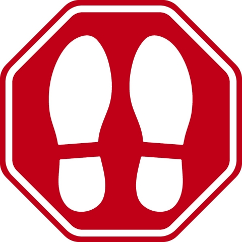 Shoe Print Pictogram Stop Sign