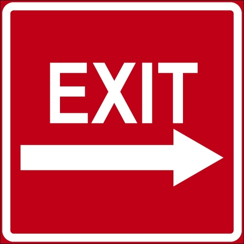 Red Exit Right Arrow