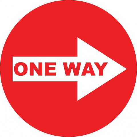 One Way Right Arrow - Red
