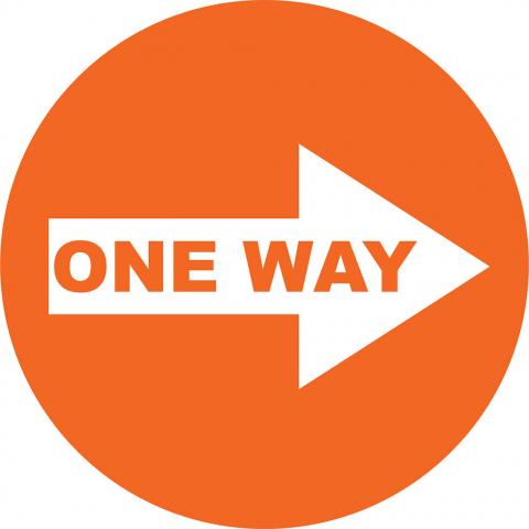 One Way Right Arrow - Orange