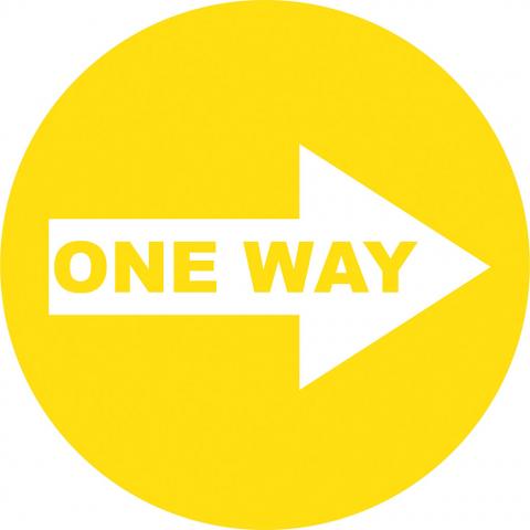 One Way Right Arrow - Yellow