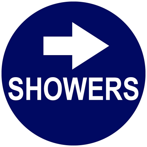 Showers Circle with Right Arrow