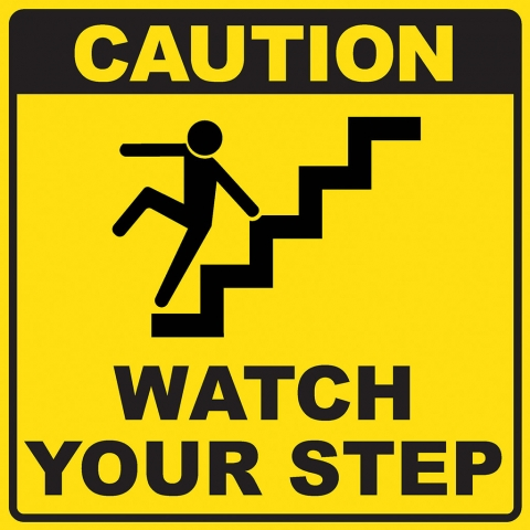 Caution Watch Your Step Stair Pictogram