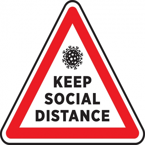 Keep Social Distance Hazard Triangle