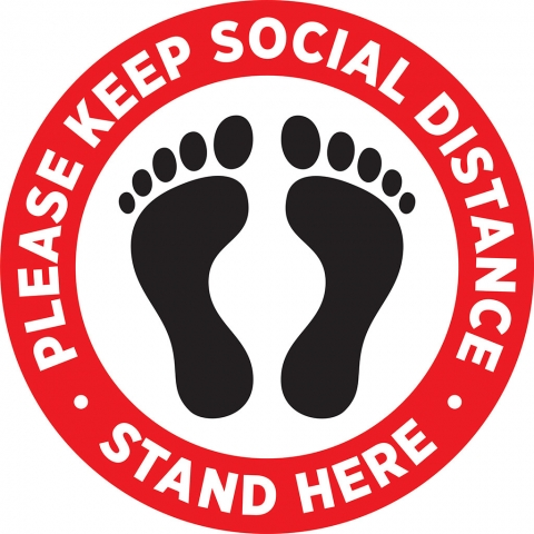 Keep Social Distance Red Footprint