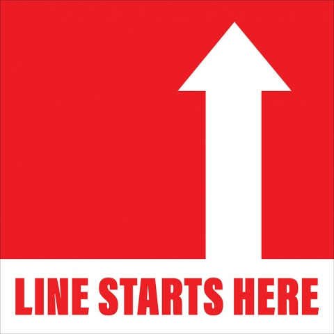 Line Starts Here Arrow