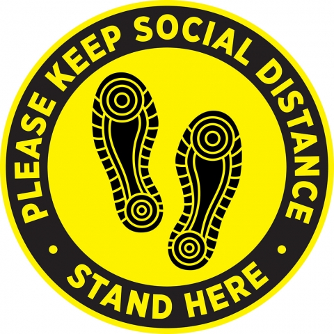 Keep Social Distance Yellow Shoeprint