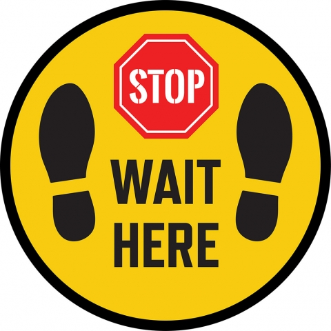 Stop Wait Here with Shoe Print