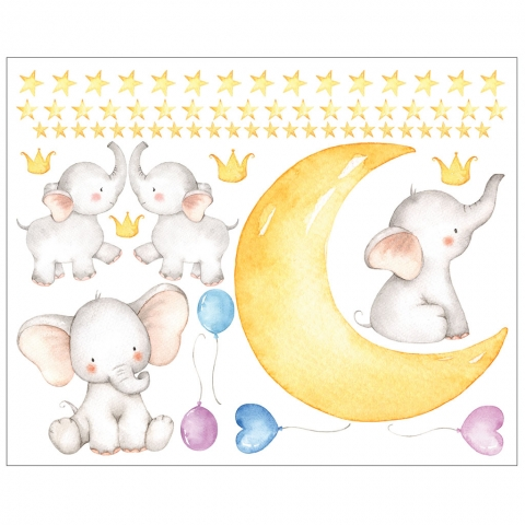 Watercolor Elephant Moon and Stars