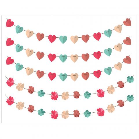 Heart Pom Pom Paper Banner