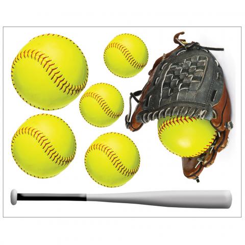 Softballs with Glove and Bat