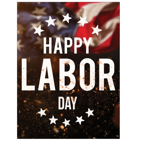 Happy Labor Day Stars Flag Embers