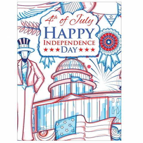 4th of July Independence Day Capitol Line Drawing