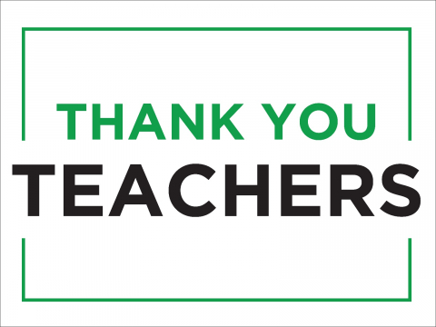 Thank You Teachers Green Border