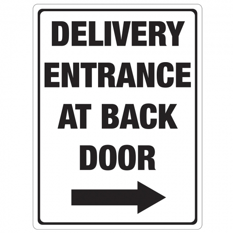 Delivery Entrance at Back Door Right Arrow