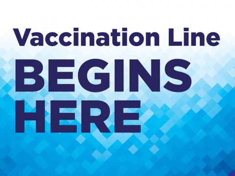 "Demarcate the line for vaccine administration in your facility. The sign contains the text ""Vaccination line begins here"". The yard sign has small squares with a blue to white background."