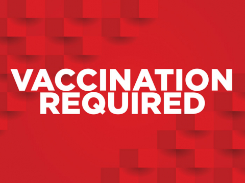 Red signtacular signage with 3d effect in the background. The signage contains the text vaccination required. The text is in white color.