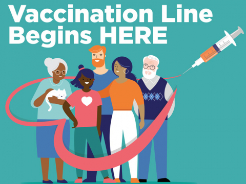 Vaccination Line Begins HERE - yard sign with the depiction of people of all ages. The pictogram is in multiple colors with the injection drawing a heart around the people.