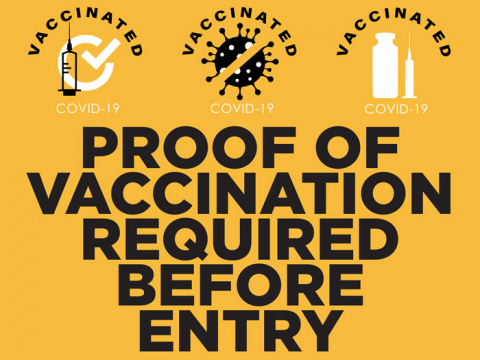 "The sign ""PROOF OF VACCINATION REQUIRED BEFORE ENTRY"" by Signtacular is suitable for indoor and outdoor usage. The pictogram has a yellow background. And letters are written in black. Top copy contains the words ""vaccinated"" -  three times."