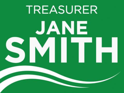 Treasurer, Promotion Signs