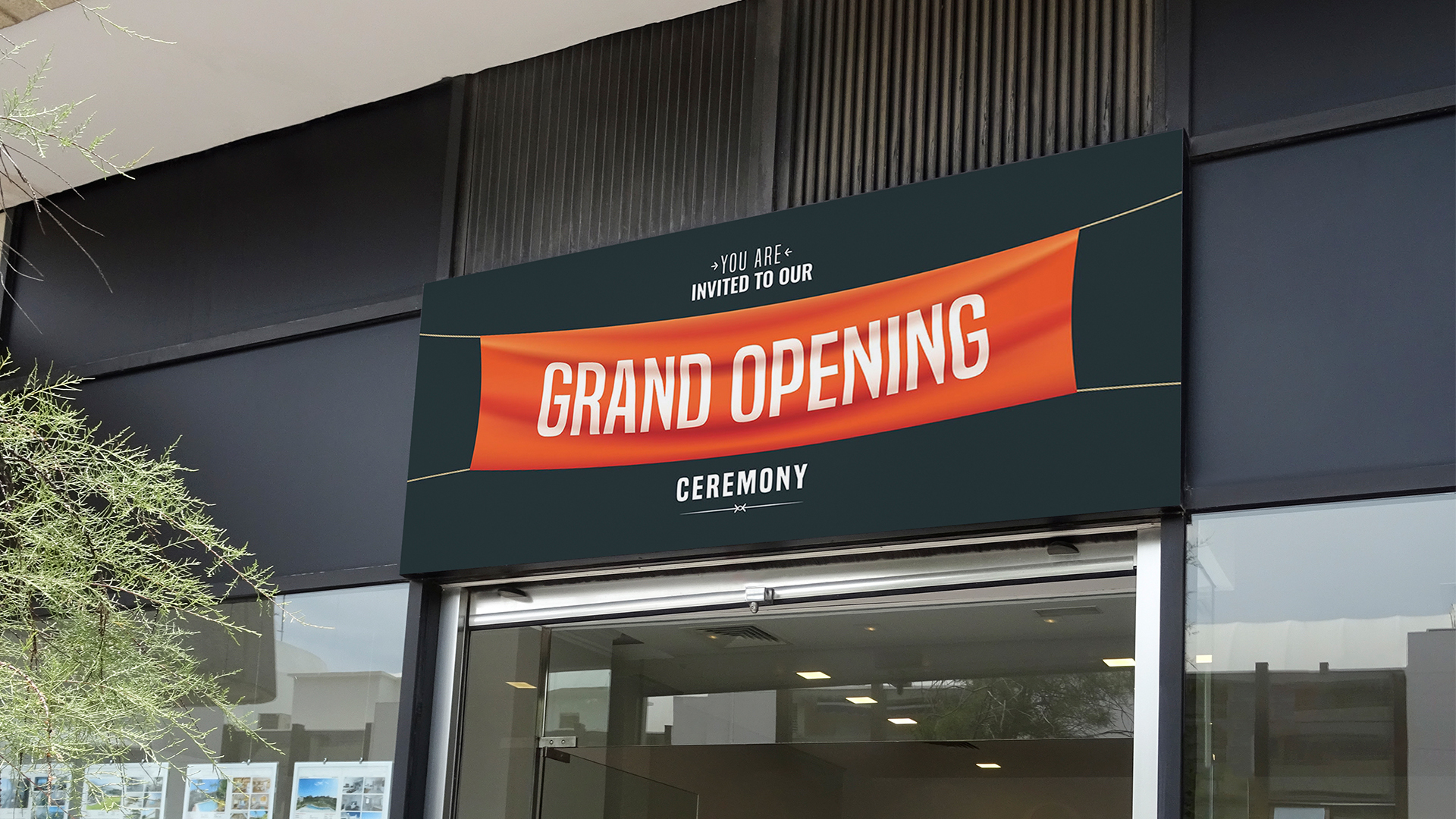 Grand opening banner for businesses